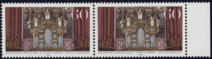 Germany postage stamp plate error: Dark spot on the ledge below the angel to the right