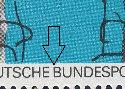 Germany 1988 postage stamp error: Letter B in BUNDESPOST damaged on 50 pf stamp