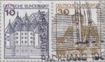 Germany, plate error on postage stamp Schloss Glücksburg Indentation on frame