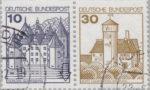 Germany, plate error on postage stamp Schloss Glücksburg Indentation on the lower right frame