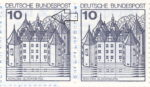 Germany, plate error on postage stamp Schloss Glücksburg Additional line on the tree top