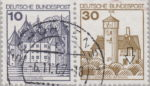 Germany, plate error on postage stamp Burg Ludwigstein Outline of the bush damaged