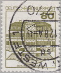 Germany, plate error on postage stamp Dot between the third and the fourth horizontal line