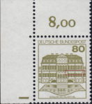 Germany, plate error on postage stamp Missing dots above windows