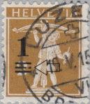 Switzerland, postage overprint error: broken line