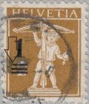 Switzerland, postage overprint error: damaged line