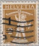 Switzerland, postage overprint error: thin line