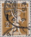 Switzerland, postage overprint error: three thin lines