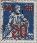 Switzerland, postage stamp error: white circle Helvetia