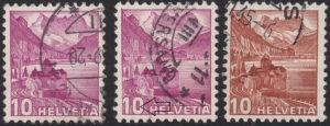 Switzerland, postage stamp types: Chillon castle on Geneva lake
