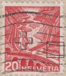 Switzerland, postage stamp plate error: Gotthard railway thin line