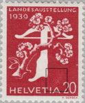 Switzerland 1939 National Exhibition stamp plate error: pale area on HELVETIA
