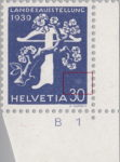 Switzerland 1939 National Exhibition stamp error: pale area above denomination