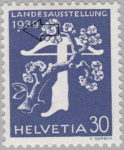 Switzerland 1939 National Exhibition stamp error: white circle below 9