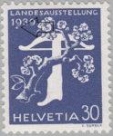 Switzerland 1939 National Exhibition stamp error: white circle below 9