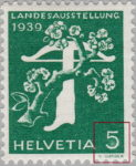 Switzerland 1939 National Exhibition stamp error: white spot in 5