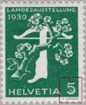 Switzerland 1939 National Exhibition stamp error: white spot in 5