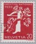 Switzerland 1939 National Exhibition stamp error: damaged borderline