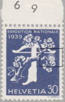 Switzerland 1939 National Exhibition stamp plate error: pale area