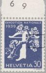 Switzerland 1939 National Exhibition stamp plate error: pale area