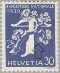 Switzerland 1939 National Exhibition stamp error: tree branch