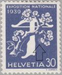 Switzerland 1939 National Exhibition stamp error: tree branch