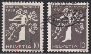 Switzerland, National Exhibition 1939 postage stamp types