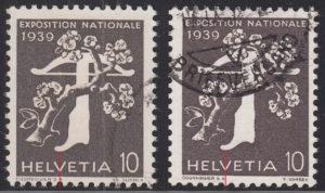 Switzerland, National Exhibition 1939 postage stamp types
