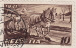 Switzerland: postage stamp error, agriculture, colored dot