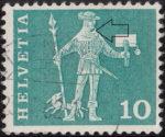 Switzerland, postage stamp error, colored spot on chin
