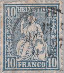 Switzerland, Sitting Helvetia, stamp error: Vertical borderline to the left thicker