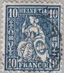 Switzerland, Sitting Helvetia, stamp error: HELVFTIA