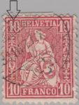 Switzerland, Sitting Helvetia, stamp error: White dot in denomination between 1 and 0