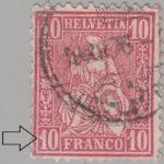Switzerland, Sitting Helvetia, stamp error: 40 instead of 10