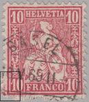 Switzerland, Sitting Helvetia, stamp error: traces of print blocks