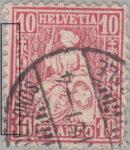 Switzerland, Sitting Helvetia, stamp error: Borderline to the left thick