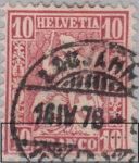 Switzerland, Sitting Helvetia, stamp error: lower inscriptions double impressed