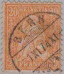 Switzerland, Sitting Helvetia, stamp error: Double borderline to the left