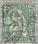 Switzerland, Sitting Helvetia, stamp error: Damaged plate in the upper right area