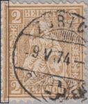 Switzerland, Sitting Helvetia, stamp error: traces of print block