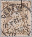 Switzerland, Sitting Helvetia, stamp error: colored smudges on borders