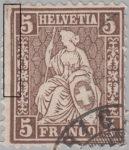 Switzerland, Sitting Helvetia, stamp error: Left borderline thick