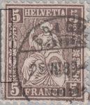Switzerland, Sitting Helvetia, stamp error: Left borderline damaged