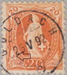 Switzerland Standing Helvetia postage stamp error: Colored spot above inscription FRANCO