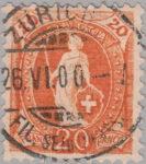 Switzerland Standing Helvetia postage stamp error: Line over Helvetia chest