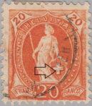 Switzerland Standing Helvetia postage stamp error: dot in Swiss Cross