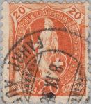 Switzerland Standing Helvetia postage stamp error: Colored spots