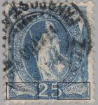 Switzerland Standing Helvetia postage stamp error: FRANCO white