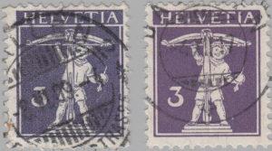 Switzerland, postage stamp types, Tell's son, 3