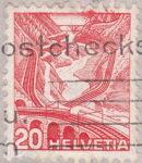 Switzerland, postage stamp error Gotthard railway, missing lines